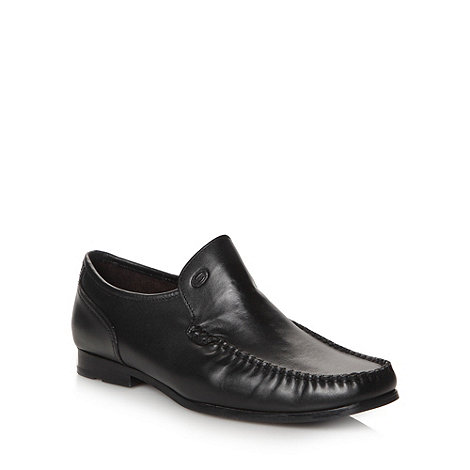 Base London - Black leather apron toe slip on shoes