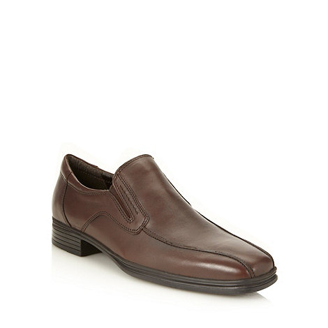 Hush Puppies - Wide fit brown leather +bodmin+ slip on shoes