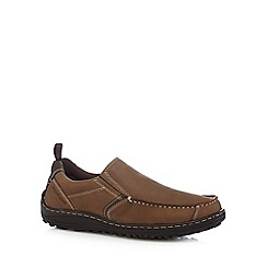 Hush Puppies - Wide fit brown chunky grain leather slip on shoes