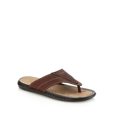 Hush Puppies - Brown stab stitched leather flip flops
