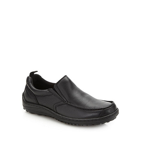 Hush Puppies - Wide fit black chunky grain leather slip on shoes