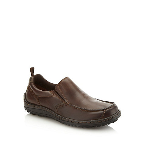 Hush Puppies - Wide fit brown curved panelled slip on shoes