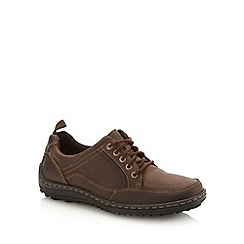 Hush Puppies - Wide fit brown contrasting stitched leather shoes