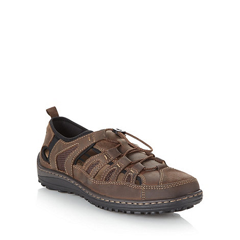 Hush Puppies - Wide fit brown cut out leather sandals