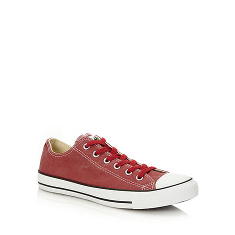 Converse - Red canvas +All Star+ low top trainers