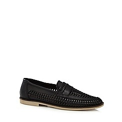 Red Herring - Black woven leather loafers