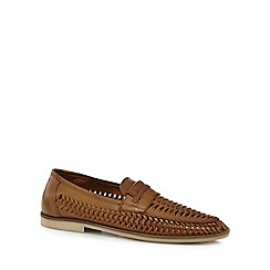 Red Herring - Tan woven leather loafers