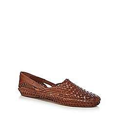 Red Herring - Tan leather woven slip-on shoes