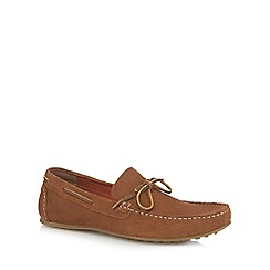 Red Herring - Tan leather slip-on boat shoes