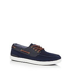 Red Herring - Navy suedette boat shoes