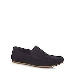 Red Herring - Navy suede slip-on loafer shoes