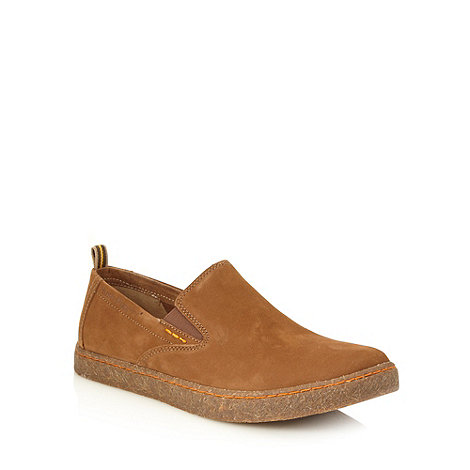 Hush Puppies - Tan suede +Lockat+ slip on chukka shoes
