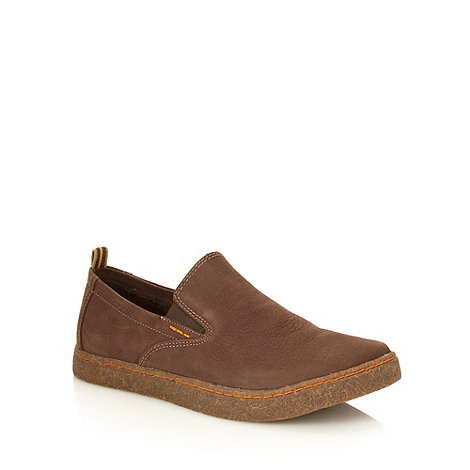 Hush Puppies - Brown suede +Lockat+ slip on chukka shoes