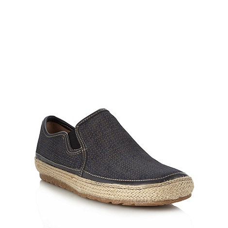 Hush Puppies - Navy debossed suede slip on shoes