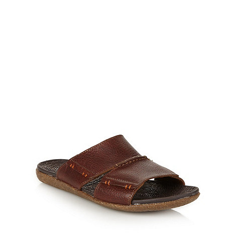 Hush Puppies - Tan leather stitched sandals