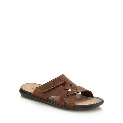 Hush Puppies - Brown crossed leather strapped slip on shoes