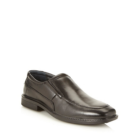 Hush Puppies - Black square toed leather slip on shoes