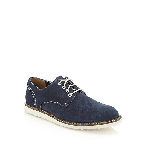 Hush Puppies - Navy suede wedge heeled shoes