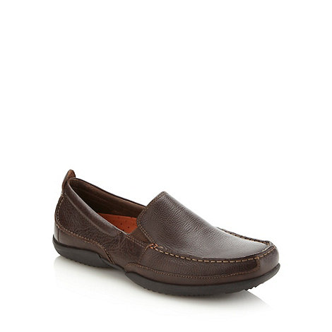 Hush Puppies - Brown leather slip on shoes