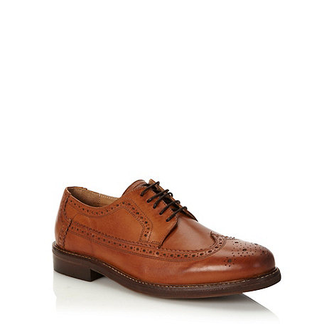 H By Hudson - Tan patterned leather brogues