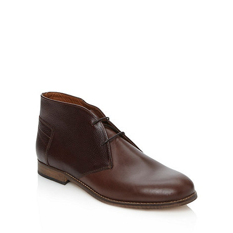 H By Hudson - Brown leather lace up chukka boots