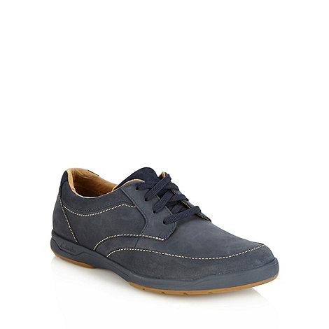 Clarks - Clarks +Stafford+ navy contrasting stitched leather shoes