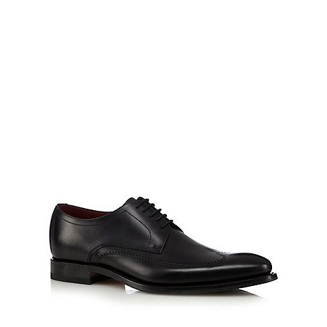 Loake - Black leather punched wing tip shoes