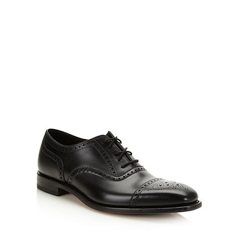 Loake - Black leather square toed brogues