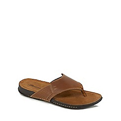 Mantaray - Tan leather flip flops