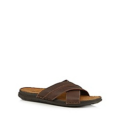 Mantaray - Brown leather cross-over sandals