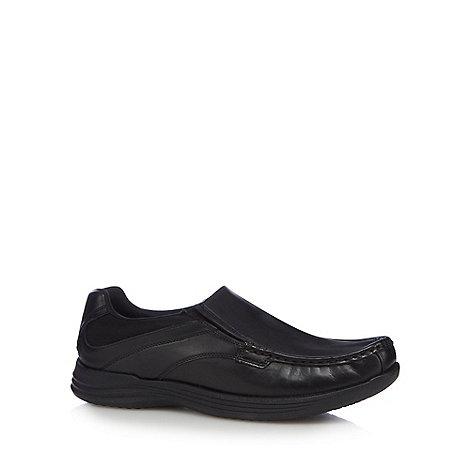 Steptronic - Black glazed leather cap toed shoes