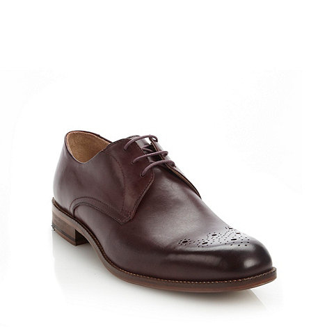 Ben Sherman - Plum leather lace up smart shoes with perforated design