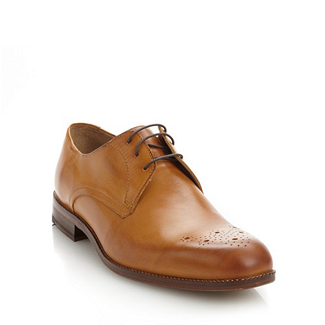 Ben Sherman - Tan leather lace up shoes with perforated design
