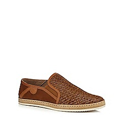 Hammond & Co. by Patrick Grant - Tan 'Francis' woven slip on shoes