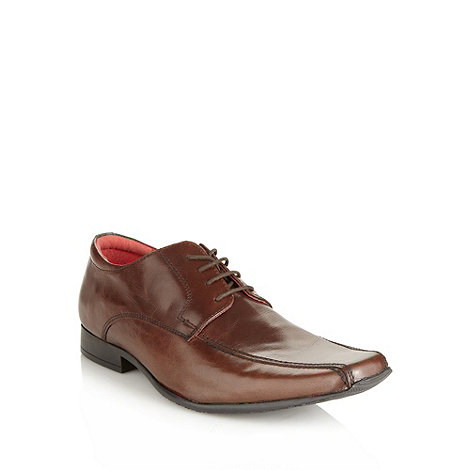 Red Tape - Brown leather tramline stitched shoes