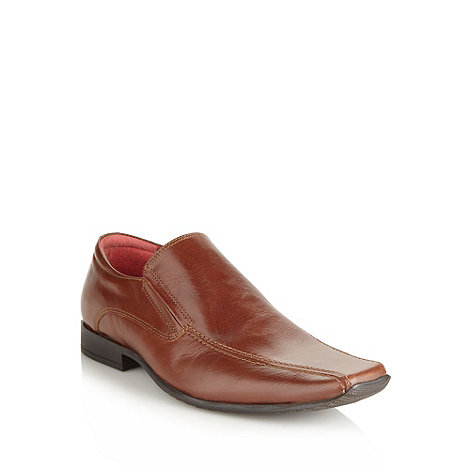 Red Tape - Brown leather square toed slip on shoes