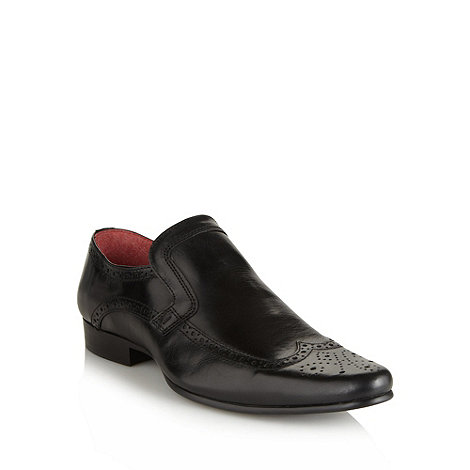 Red Tape - Black leather slip on brogues