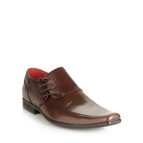 Red Tape - Brown leather side lace shoes