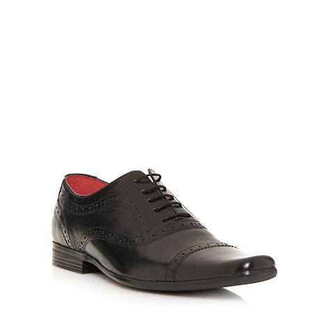 Red Tape - Black square toed brogues