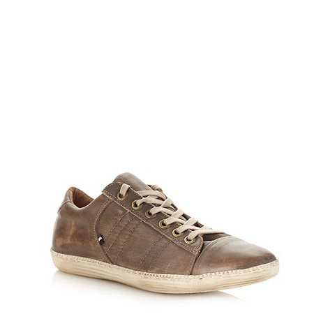 RJR.John Rocha - Designer taupe lace up plimsoll trainers