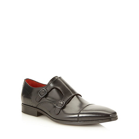Jeff Banks - Designer black double buckled leather shoes