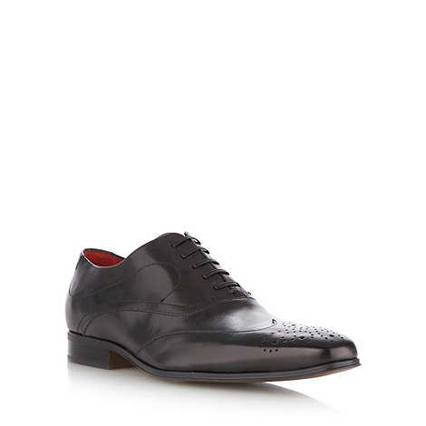 Jeff Banks - Designer dark grey leather pointed toe brogues