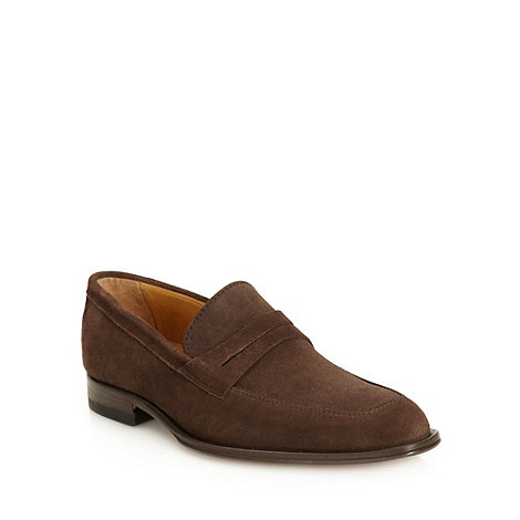 Jeff Banks - Designer brown suede pointed loafers