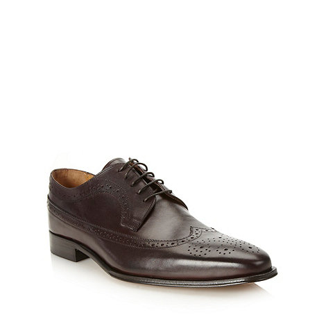 Jeff Banks - Designer dark brown pointed leather brogues
