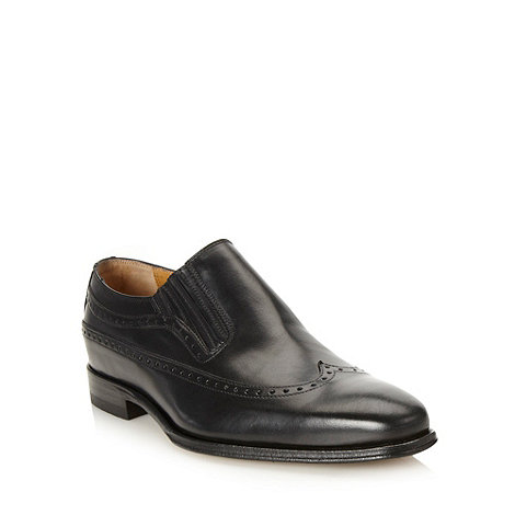 Jeff Banks - Designer black wing cap slip on shoes