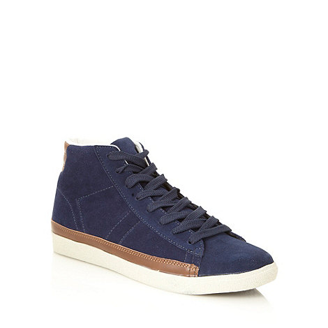 Red Herring - Navy suede high top trainers
