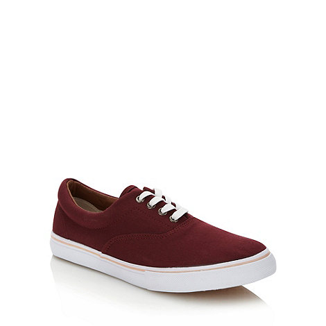 FFP - Dark red lace up canvas trainers