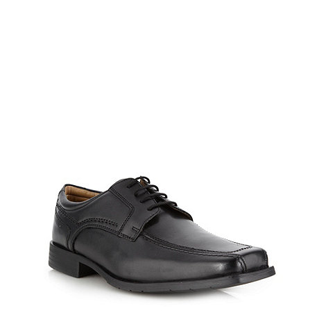 Thomas Nash - Wide fit black leather tramline shoes