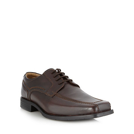 Thomas Nash - Wide fit brown leather tramline shoes