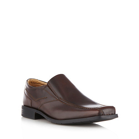 Thomas Nash - Wide fit dark brown leather tramline slip on shoes